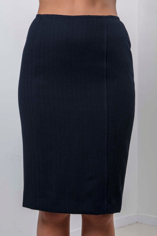 Dakota Skirt (Navy Herringbone)