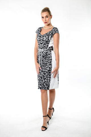 Black & White Bush Medicine Flowers Dress