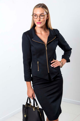 Sigrid Black Cotton Zipper Jacket