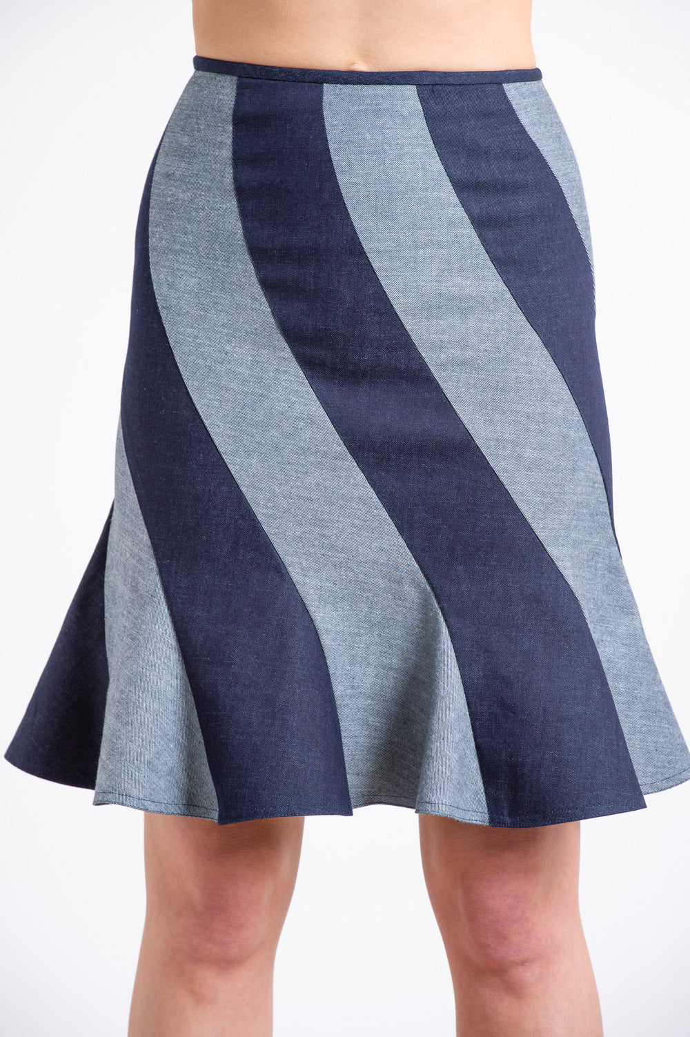 Indigo Denim Swirl Skirt
