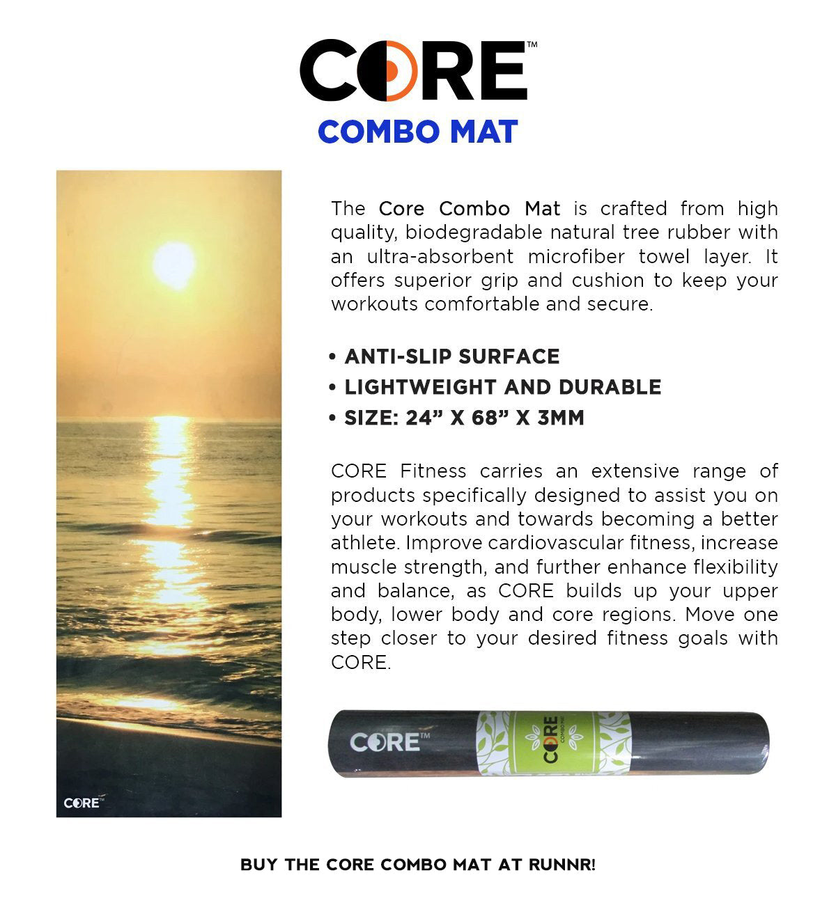 Core yoga mat is crafted from high quality, biodegradable natural tree rubber with an ultra-absorbent microfbiber layer