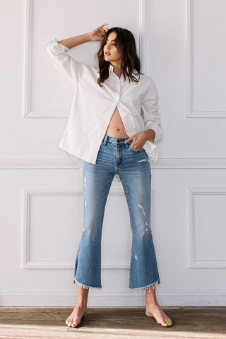Ginny Kick Flare Jeans with Side Slit