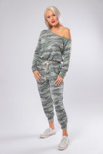 Load image into Gallery viewer, Off the Shoulder Camo Jumpsuit in Army Green
