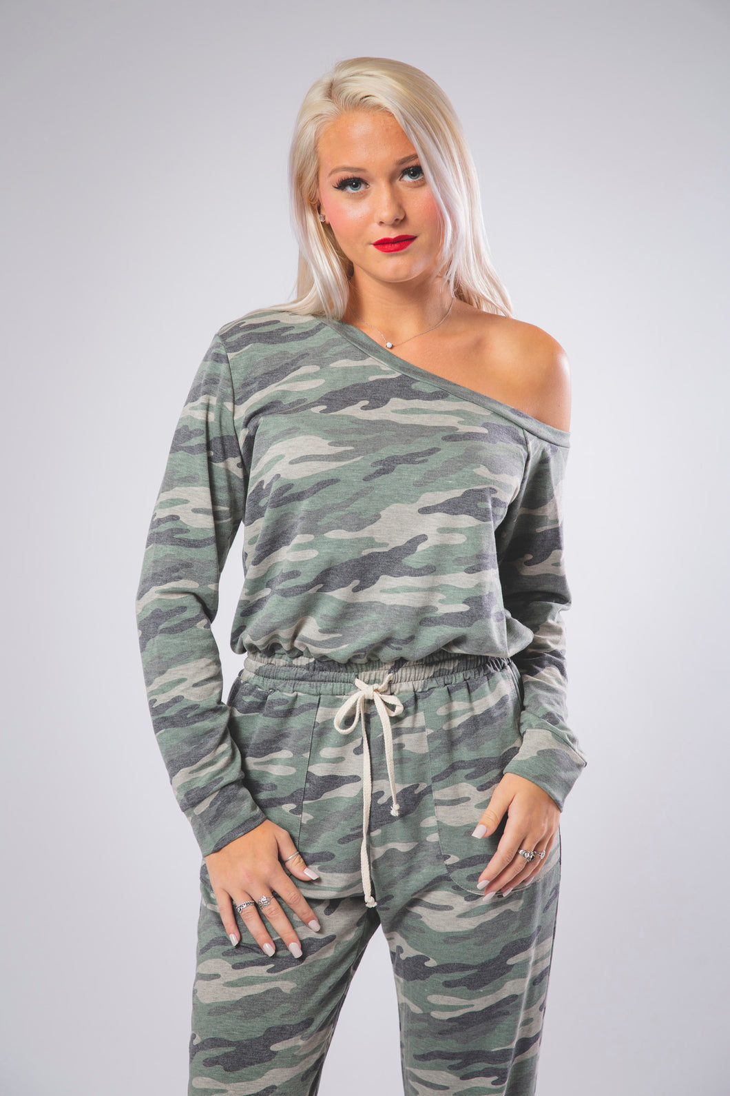 Off the Shoulder Camo Jumpsuit in Army Green