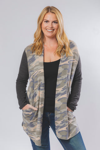 Cardigan w/ Camo Front and Striped Backside