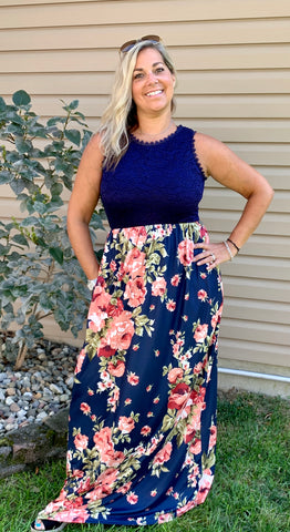 Navy Floral Dress w/ Lace Top and Pockets