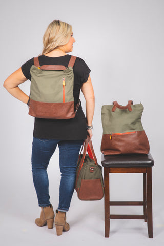 3 in 1 Backpack, Tote & Crossbody Bag
