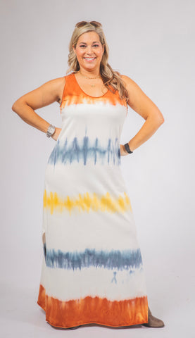 Sleeveless Multi Colored Dip-Dyed Maxi Dress