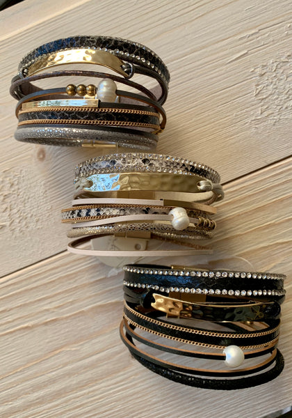 Multi Line Leather Bracelets