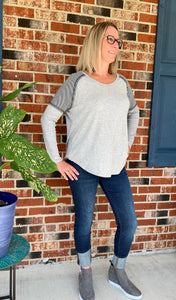 Contrast Top with Thermal Long Sleeves