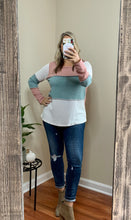 Load image into Gallery viewer, Color Block Round Neck Waffle Top