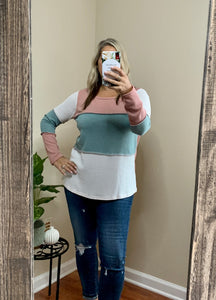 Color Block Round Neck Waffle Top