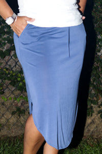 Solid Mid Length Skirt