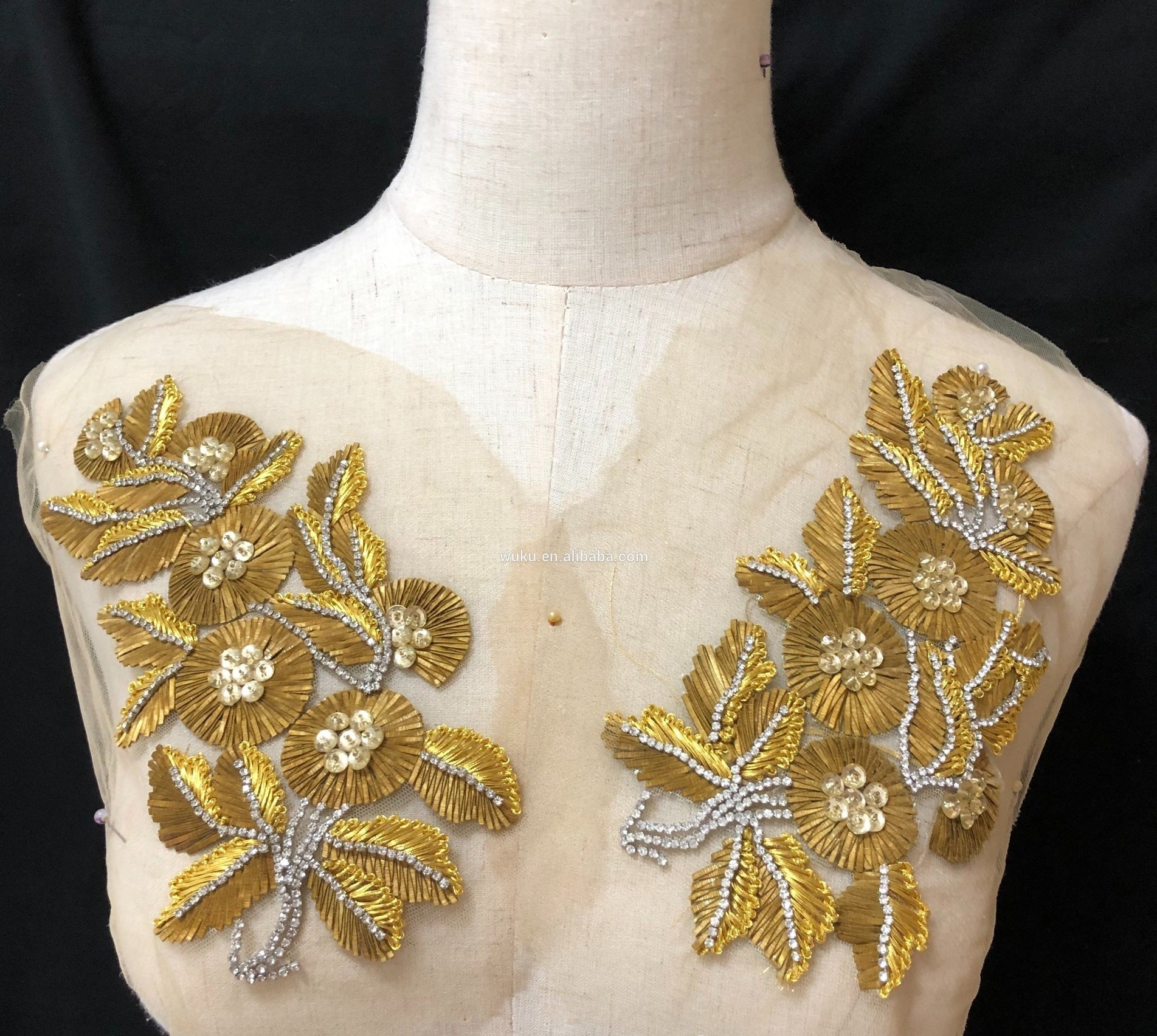 Golden Indian Silk Beaded Applique
