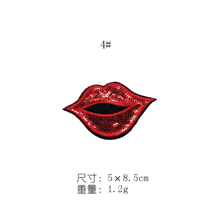 Red Lips Sequins Embroidered Cloth Beads Embroidered Stickers