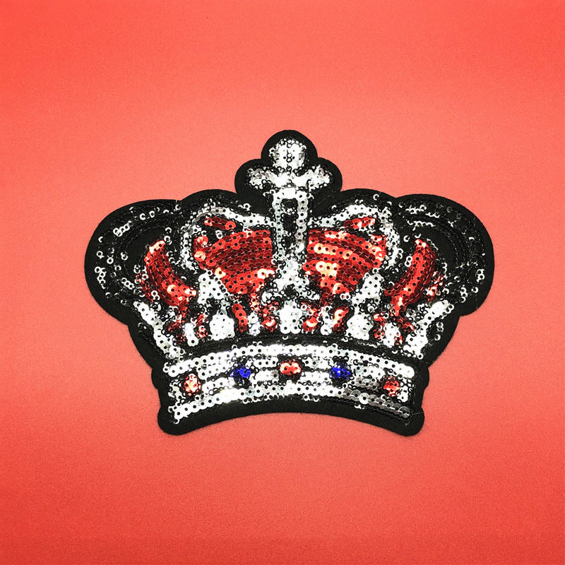 Sequined Embroidered Fabric Fashion Crown Beaded Patch