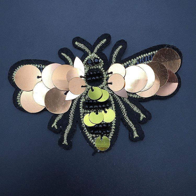 Needle Bead Sequin Bee Embroidery Patch