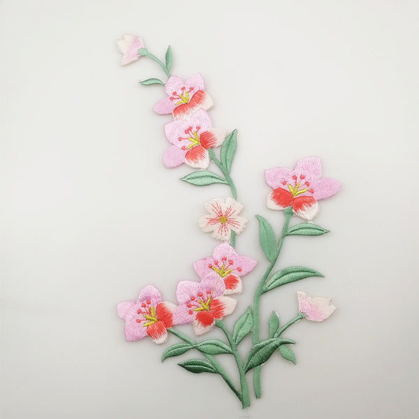 Embroidered Pink Daffodil Applique