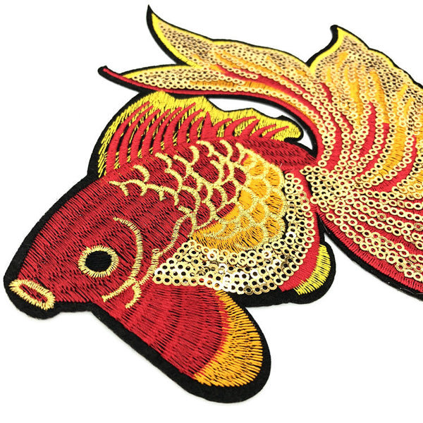 Gold Silk Sequin Red Goldfish Embroidery Cloth Patch