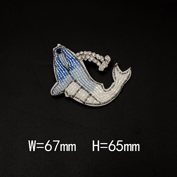 Blue Beaded Seahorse Dolphin Decal