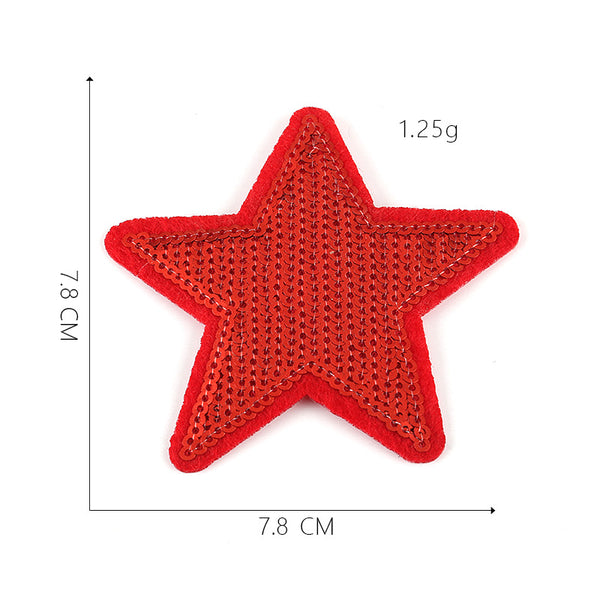 Five Pointed Star Cloth Patching and Ironing Sequin Decal