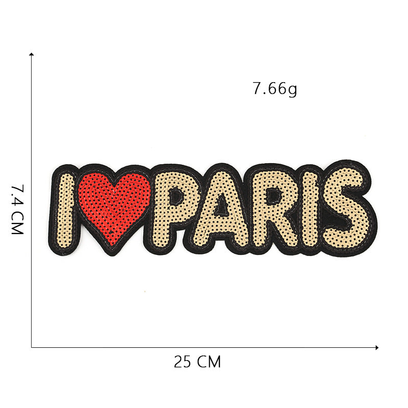 English Letter Rectangular Patch Sequin Embroidery Cloth Paste