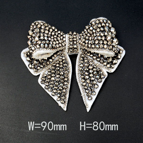 Large Three-dimensional Nail Bead Bow Cloth Patch