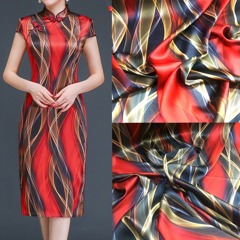 Geometric Print Stretch Satin Silk Charmeuse(19 Momme)