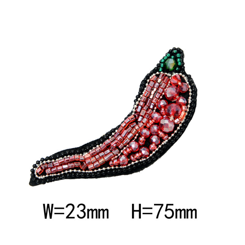 Beaded Red Pepper Cloth Applique