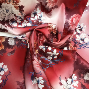 Rich Peony Flowers Digital Printing Silk Charmeuse(19 Momme)