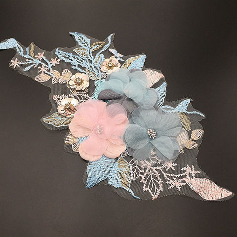 Colorful Flower Embroidery Three-dimensional Collar Applique - SUGAR FABRICS