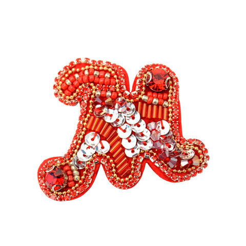 Beaded Red Christmas Letter Skirt Glove Patch - SUGAR FABRICS