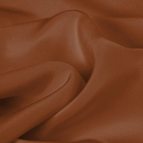 Brown Red Silk 4-Ply Crepe