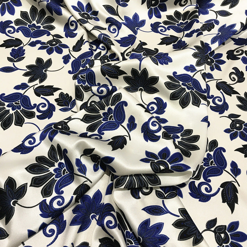 Blue and White Porcelain Stretch Satin Silk Charmeuse(19 Momme)
