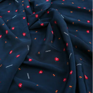 Navy Blue Print Stretch Silk Crepe De Chine(23 Momme)