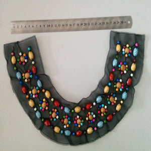 Color U-shaped Beaded Collar Collar