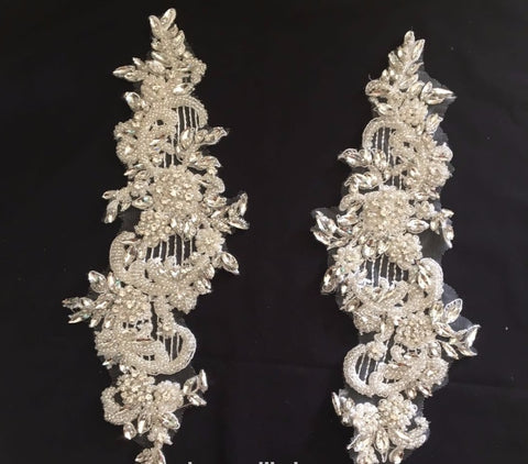 Exquisite Handmade Beaded Rhinestone Decoration Lace Applique