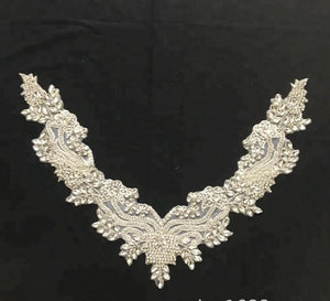 Beaded Chiffon Flower Lace Decoration V-shaped Neck Flower