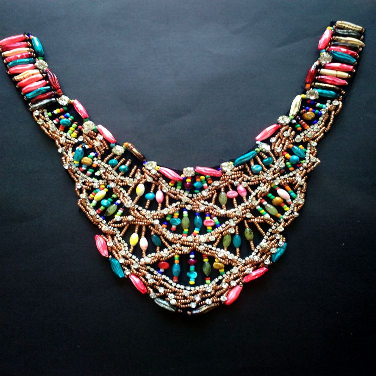 Ribbon Colored Fishnet Beaded Collar