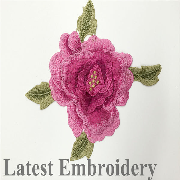 Red Three-dimensional Embroidered Applique