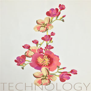 Red Ethnic Embroidered Flower Cloth Sticker