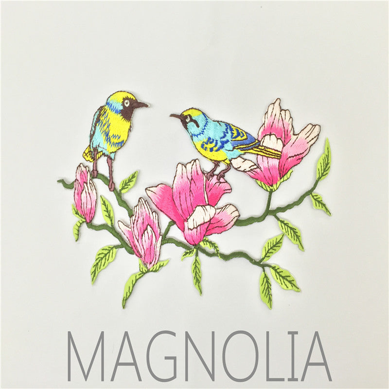 Magnolia Bird Embroidery Cloth Patch