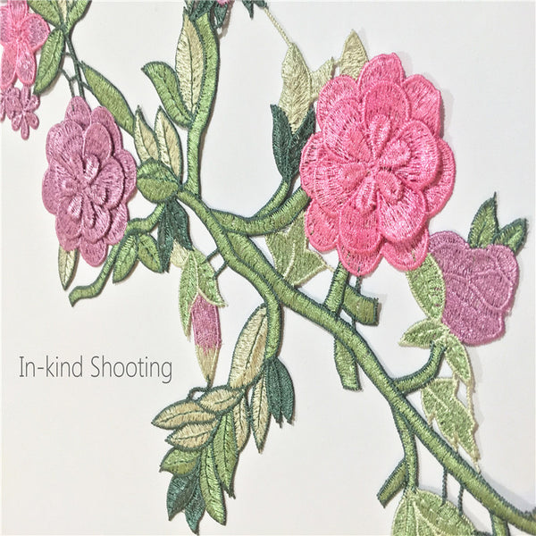 Pink Flower Embroidery Cloth Sticker