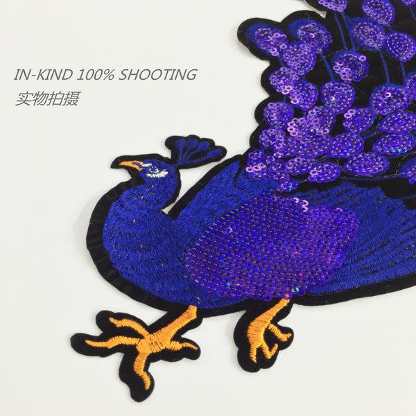 Embroidered Sequins Peacock Patch