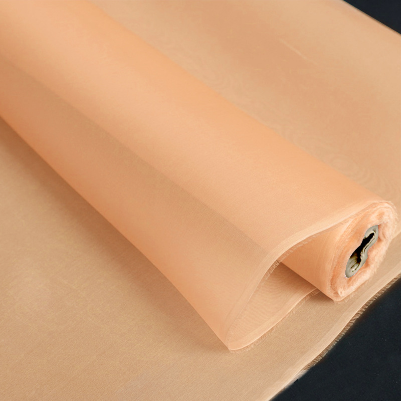 Light Orange Color Silk Organza