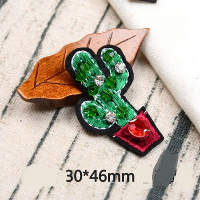 Beaded Cactus Palm Rhinestone Embroidery Cloth Sticker