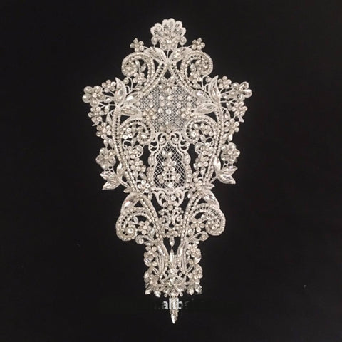 Handmade Beaded Rhinestone Wedding Dress Lace Applique