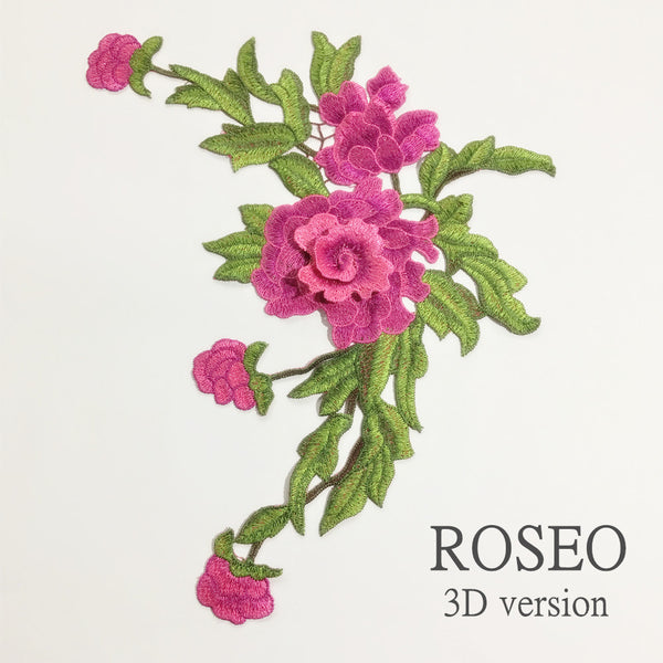 3D Fashion Multicolor Rose Embroidery Applique