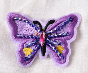 Beaded Colorful Butterfly Embroidery Cloth Stickers