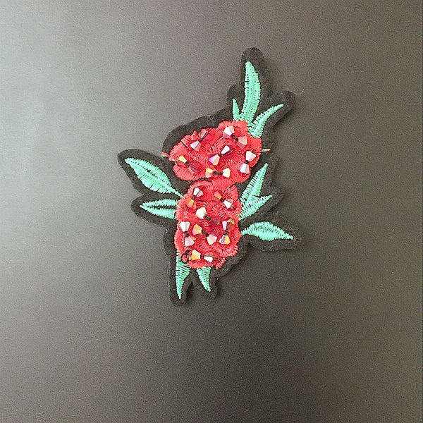 Flower Embroidery Clothing Hat Beaded Cloth Patch
